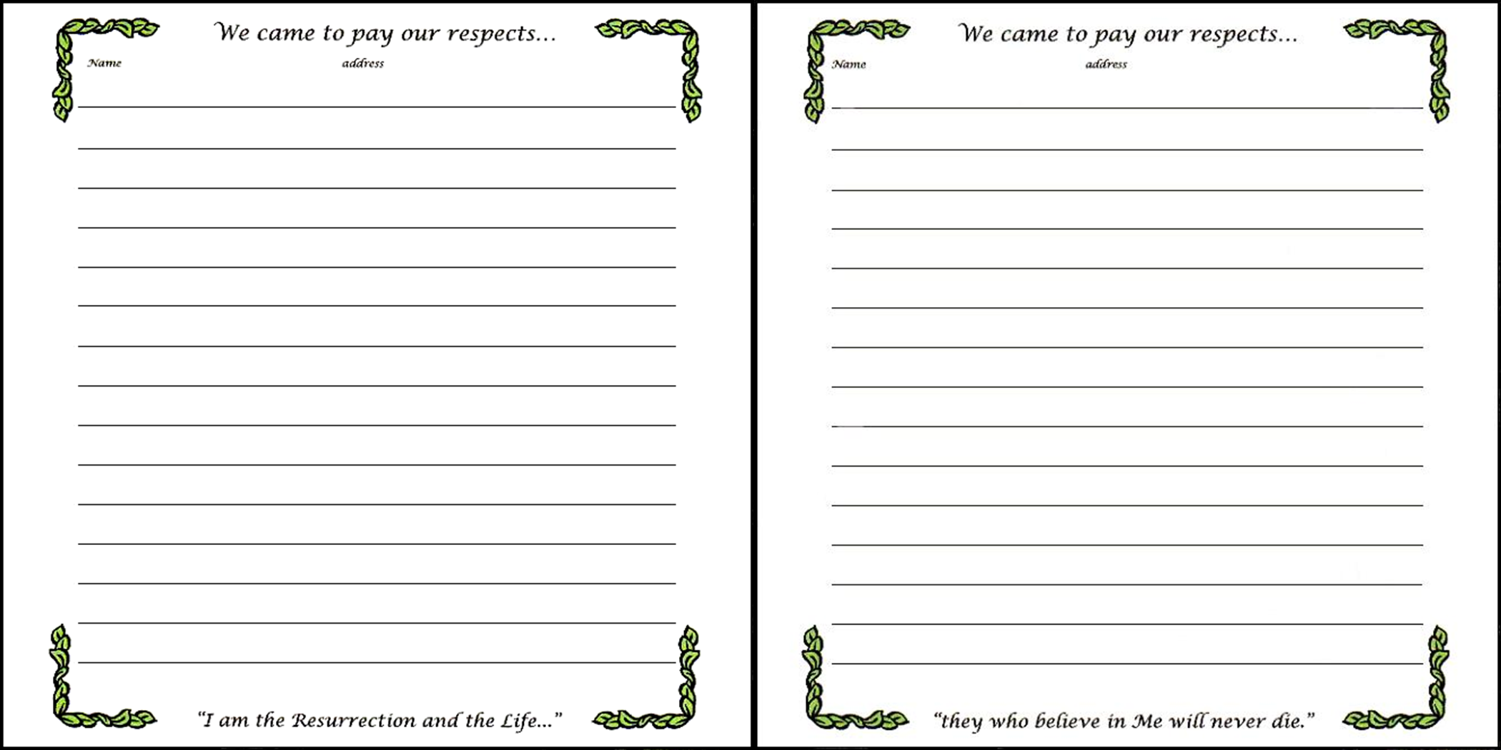 visitors book template free download - memorial book